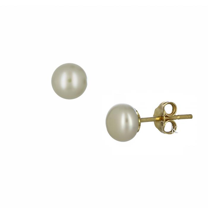 SKU-29027 / Σκουλαρίκια Χρυσός Κ14 με Μαργαριτάρια