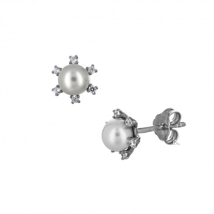 SKU-29403 /  Σκουλαρίκια Λευκόχρυσος Κ14 με Μαργαριτάρια & Ζιργκόν