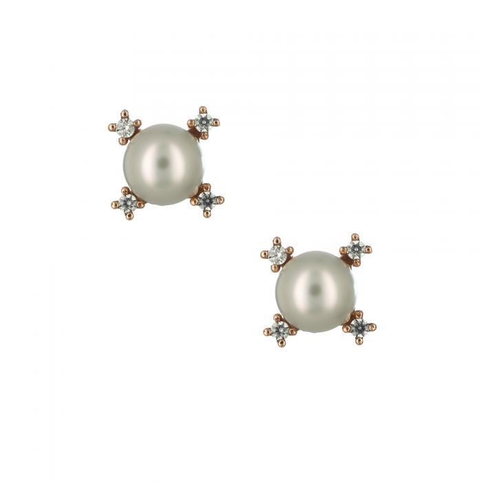SKU-29253 /  Σκουλαρίκια Ροζ Χρυσός Κ14 με Μαργαριτάρια & Ζιργκόν