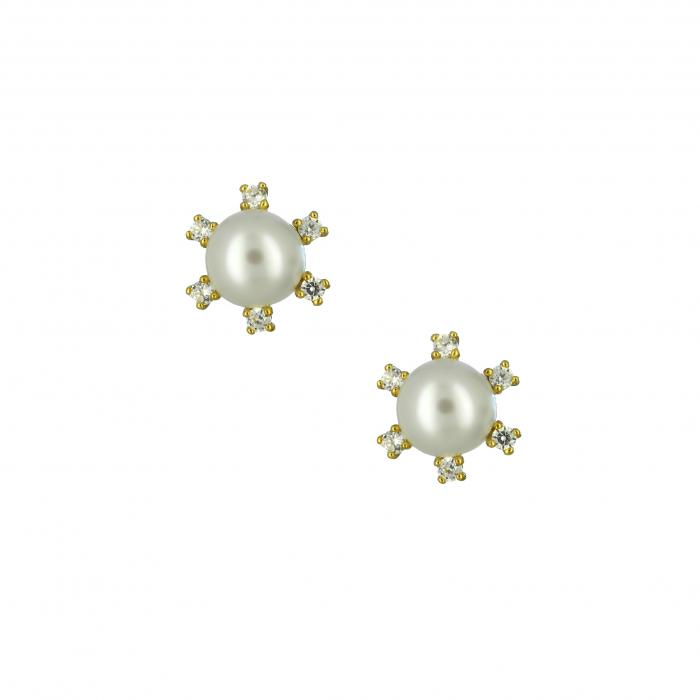 SKU-29241 / Σκουλαρίκια  Χρυσός Κ14 με Μαργαριτάρια & Ζιργκόν