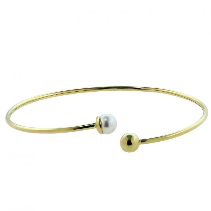 SKU-30781 / Βραχιόλι Χειροπέδα Χρυσός Κ14 με Μαργαριτάρι