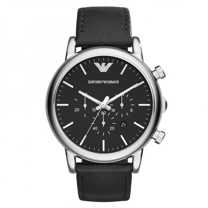 SKU-30295 / EMPORIO ARMANI Chronograph Black Leather Strap
