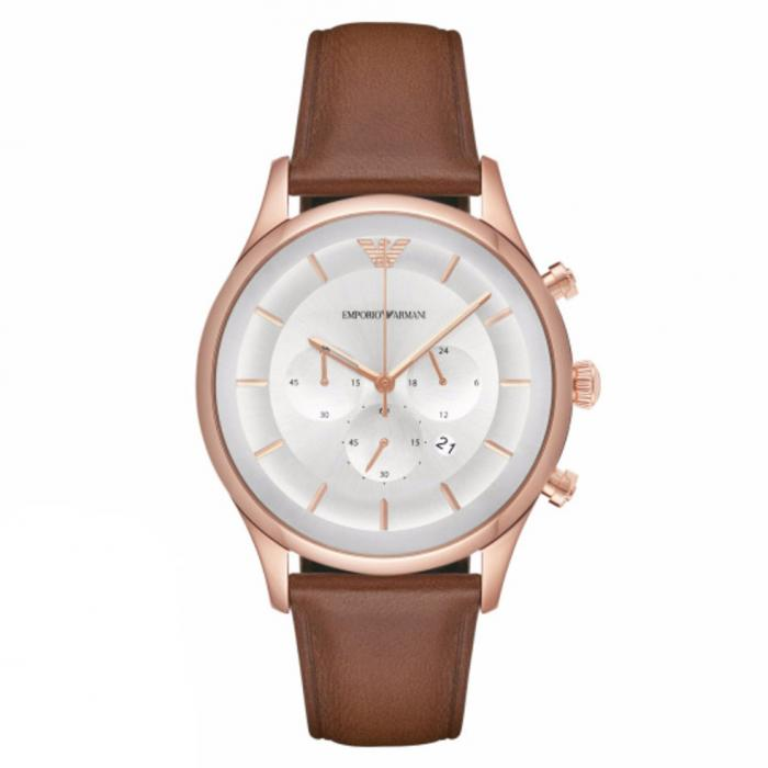 SKU-30252 / EMPORIO ARMANI Chronograph Brown Leather Strap