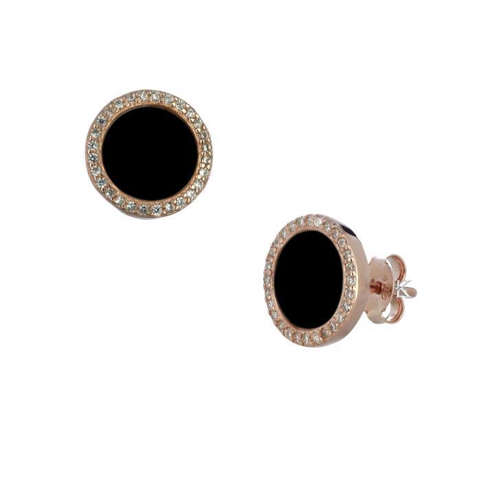 SKU-30238 / Σκουλαρίκια Ασήμι 925° με Μαύρο Όνυχα & Ζιργκόν