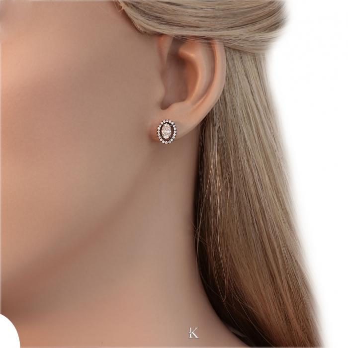 SKU-30874 / Σκουλαρίκια Ροζ Χρυσός Κ14 με Ζιργκόν