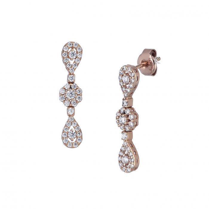 Σκουλαρίκια Ροζ Χρυσός Κ24 με Ζιργκόν