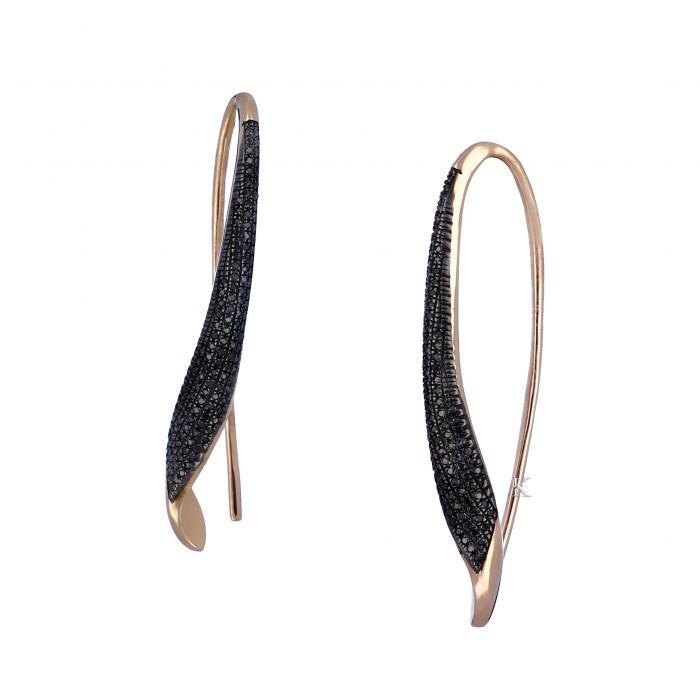 Σκουλαρίκια Ροζ Χρυσός Κ14 με Μαύρα Διαμάντια