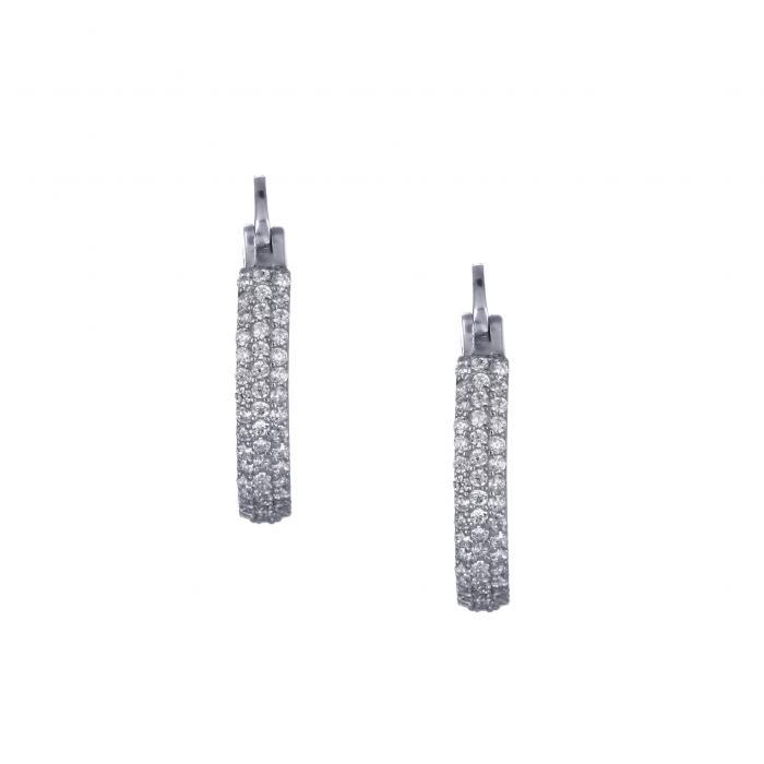 SKU-30893 / Σκουλαρίκια Λευκόχρυσος Κ14 με Ζιργκόν