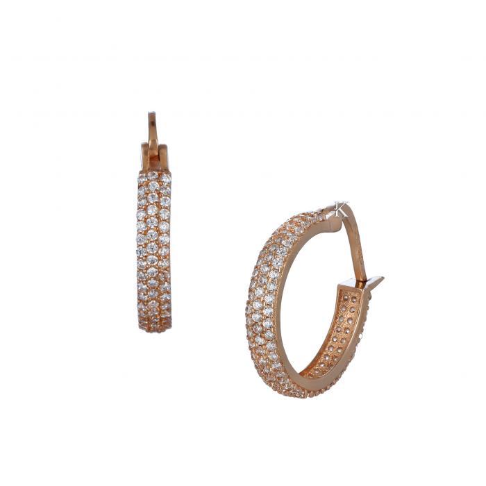 SKU-30895 / Σκουλαρίκια Ροζ Χρυσός Κ14 με Ζιργκόν
