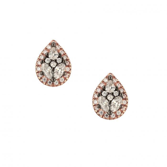 SKU-30873 / Σκουλαρίκια Ροζ Χρυσός Κ14 με Ζιργκόν