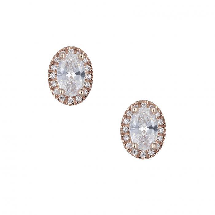 SKU-30877 / Σκουλαρίκια Ροζ Χρυσός Κ14 με Ζιργκόν