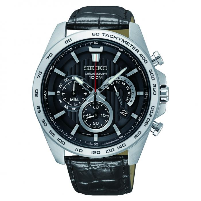 SKU-31566 / SEIKO Chronograph Black Leather Strap