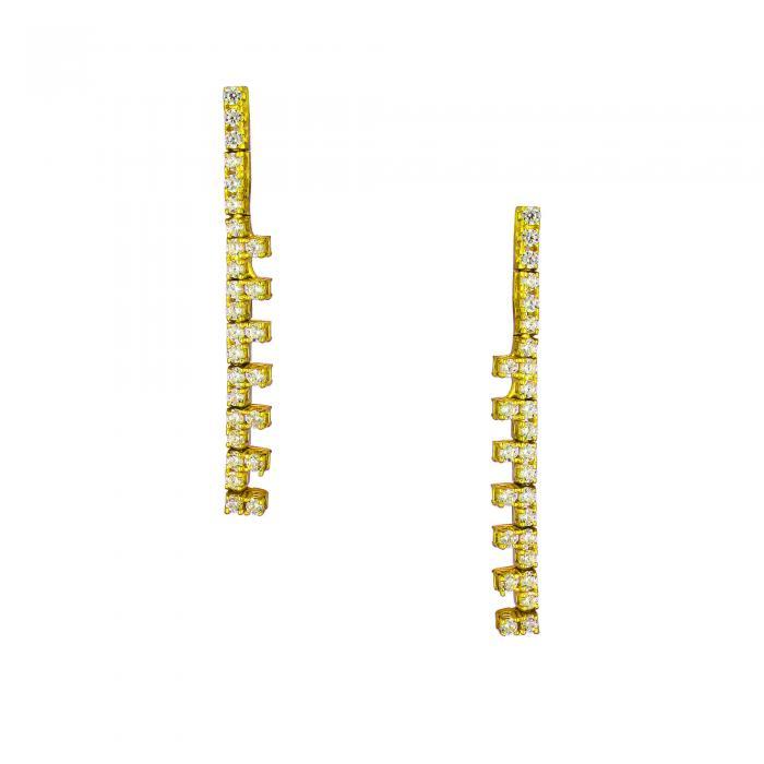 SKU-31313 / Σκουλαρίκια Χρυσός Κ14 με Ζιργκόν