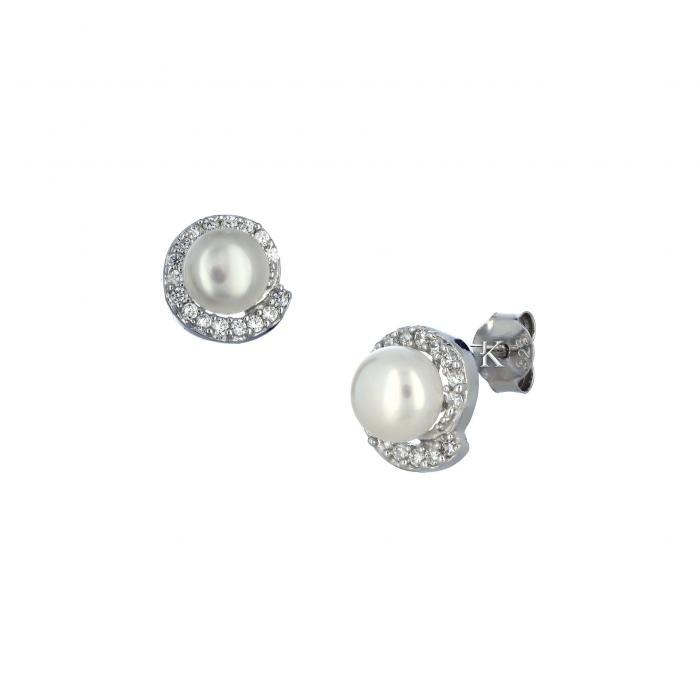SKU-31179 / Σκουλαρίκια Ασήμι 925° με Ζιργκόν & Μαργαριτάρι