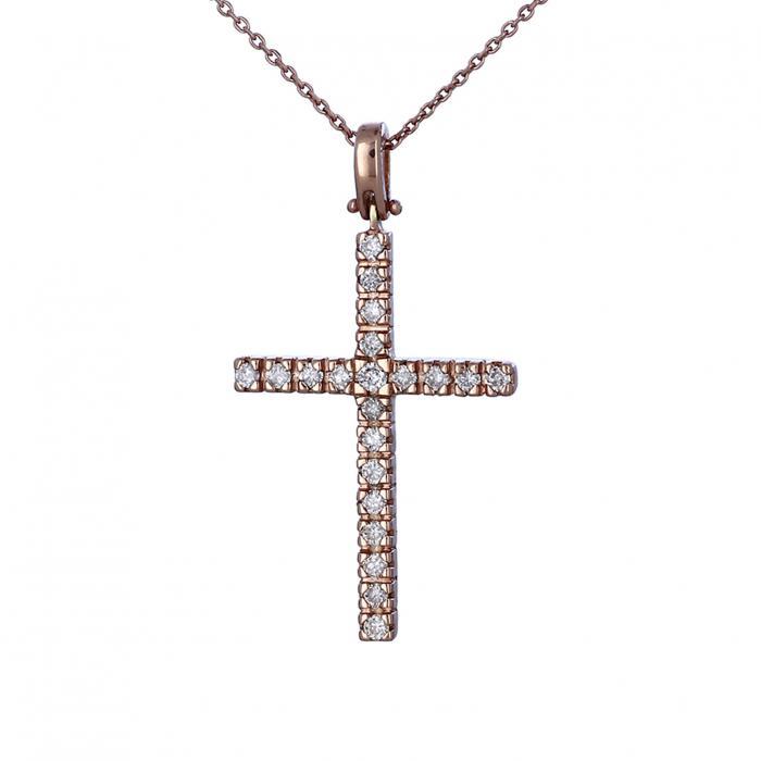 SKU-31730 / Σταυρός Ροζ Χρυσός Κ18 με Διαμάντια
