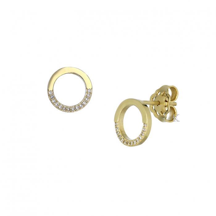 SKU-32269 / Σκουλαρίκια Καρφωτά Ροζ Χρυσός Κ9 με Ζιργκόν