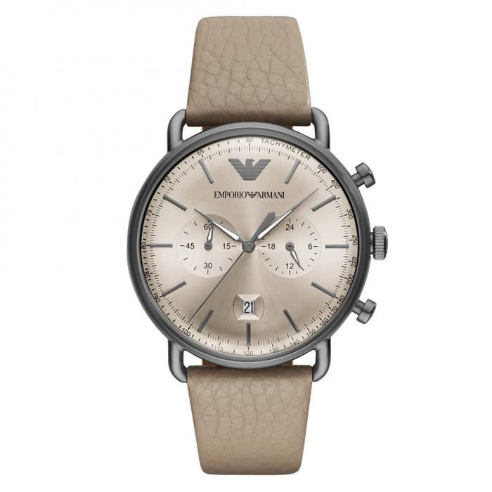 SKU-33457 / EMPORIO ARMANI Chronograph Beige Leather Strap