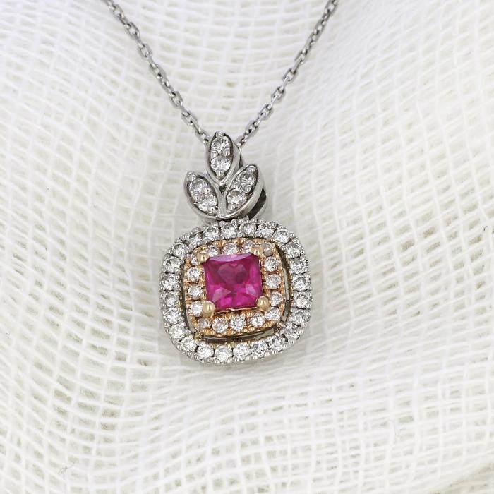 SKU-33484 / Κολιέ Λευκόχρυσος & Ροζ Χρυσός Κ18 με Ρουμπίνι & Διαμάντια