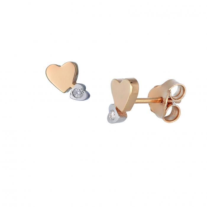 SKU-33272 / Σκουλαρίκια Καρδιές Ροζ Χρυσός & Λευκόχρυσος Κ14 με Ζιργκόν