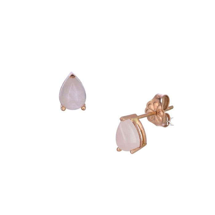 SKU-33057 / Σκουλαρίκια Ροζ Χρυσός Κ14 με Rose Quartz