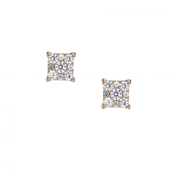 SKU-33275 / Σκουλαρίκια Ροζ Χρυσός Κ14 με Ζιργκόν