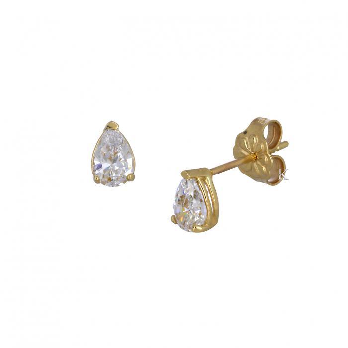 SKU-33056 / Σκουλαρίκια Χρυσός Κ14 με Ζιργκόν