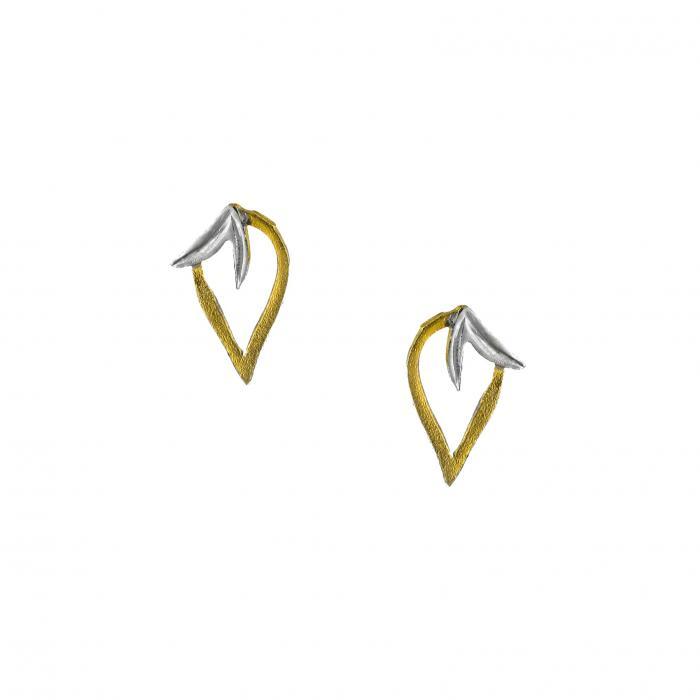 SKU-33142 / Σκουλαρίκια Χρυσός & Λευκόχρυσος Κ14