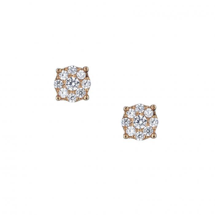SKU-33277 / Σκουλαρίκια Ροζ Χρυσός Κ14 με Ζιργκόν