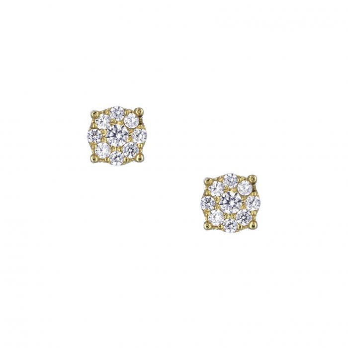 SKU-33280 / Σκουλαρίκια Χρυσός Κ14 με Ζιργκόν