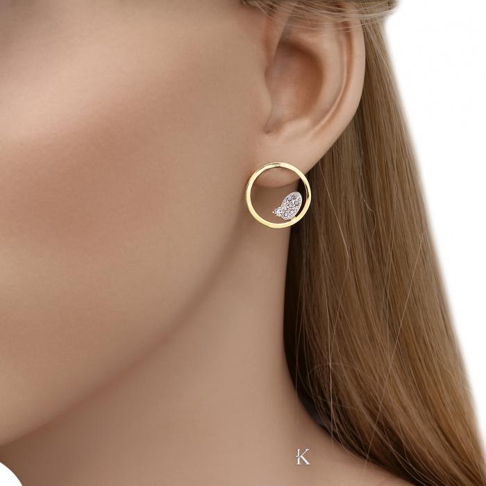 SKU-33128 / Σκουλαρίκια Χρυσός & Λευκόχρυσος Κ14 με Ζιργκόν