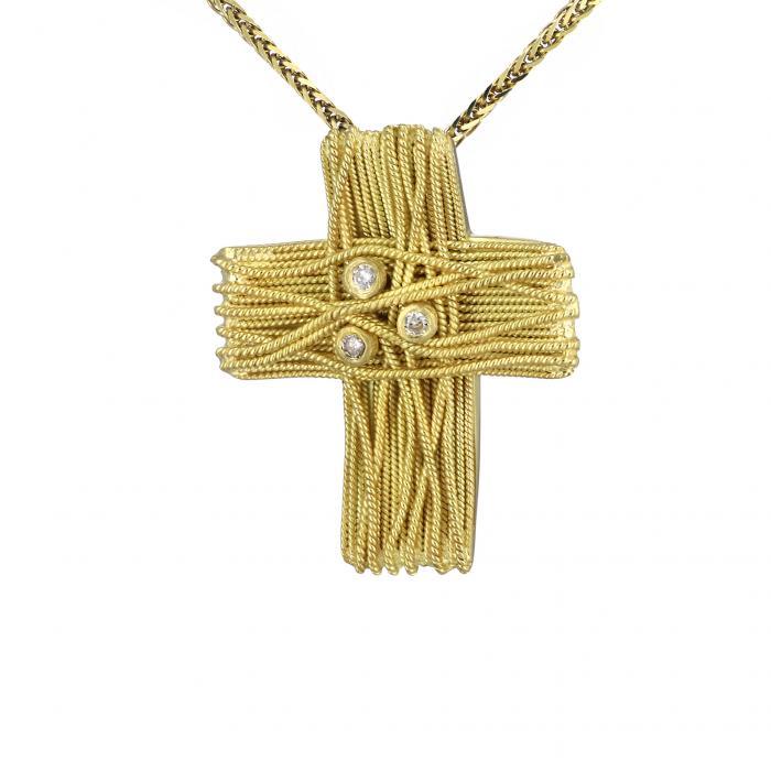 SKU-33747 / Σταυρός Χρυσός Κ18 με Διαμάντια