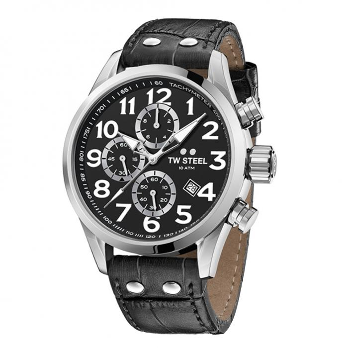 SKU-33939 / TW STEEL Volante Chronograph Black Leather Strap