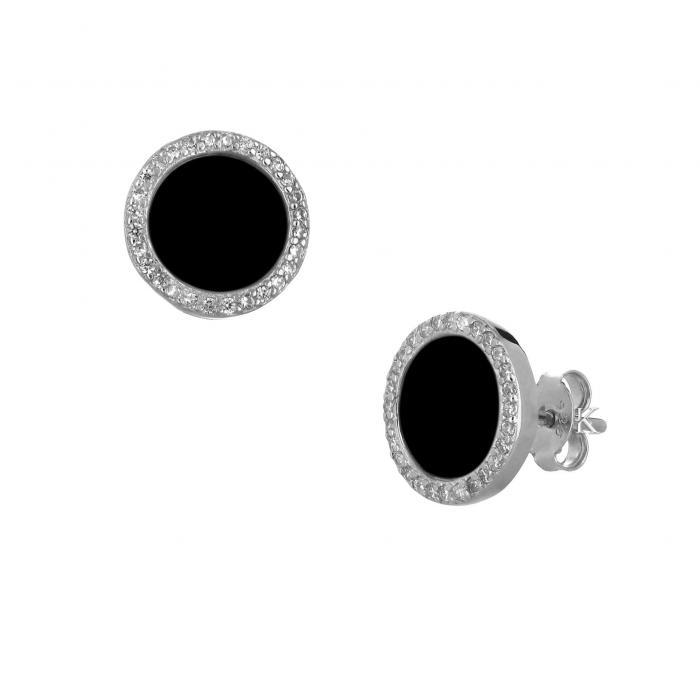 SKU-34585 / Σκουλαρίκια Ασήμι 925° με Μαύρο Όνυχα