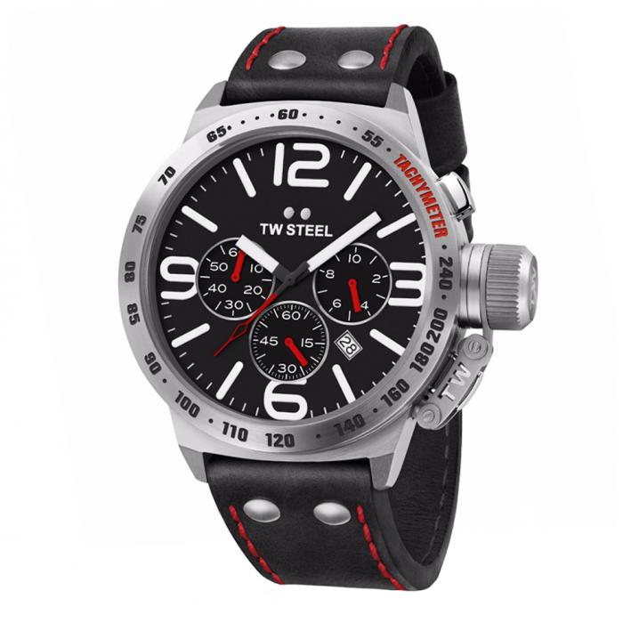 SKU-34304 / TW STEEL Canteen Chronograph Black Leather Strap