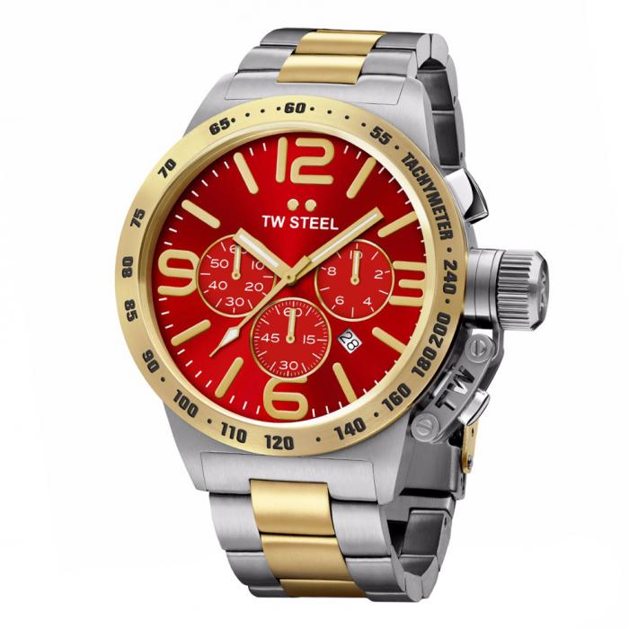SKU-34289 / TW STEEL Canteen Chronograph Two Tone Stainless Steel Bracelet