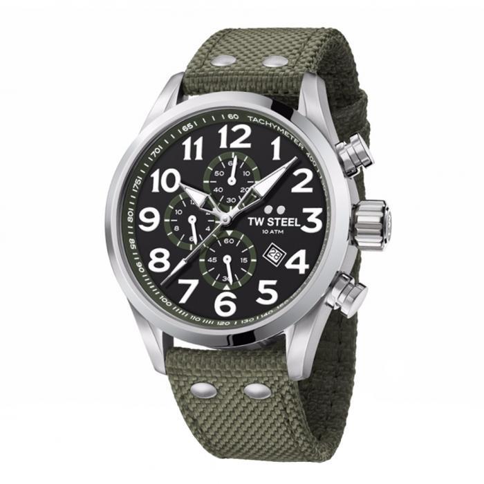 SKU-34177 / TW STEEL Volante Chronograph Khaki Textile Strap