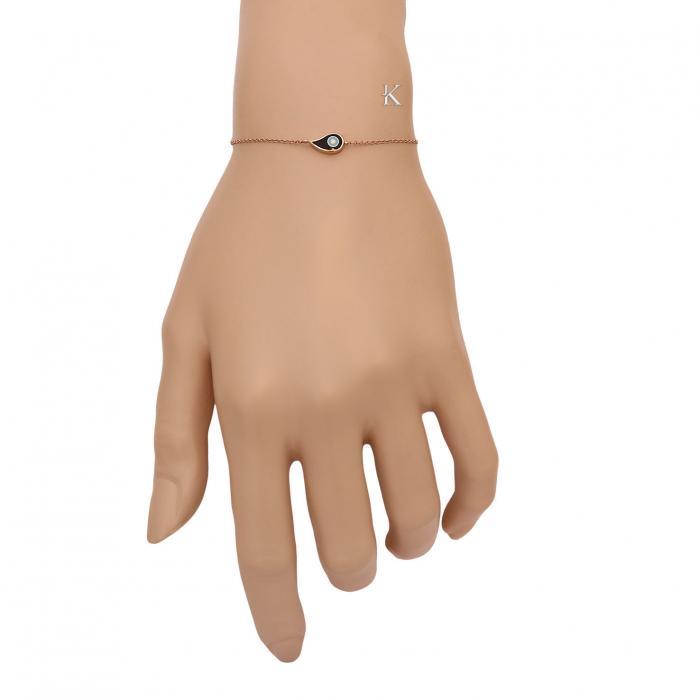 SKU-35944 / Βραχιόλι Ματάκι Ροζ Χρυσός Κ14 με Σμάλτο