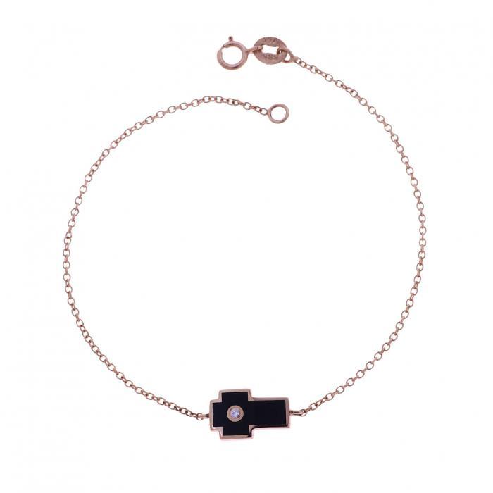 SKU-35941 / Βραχιόλι Ροζ Χρυσός Κ14 με Σμάλτο & Ζιργκόν
