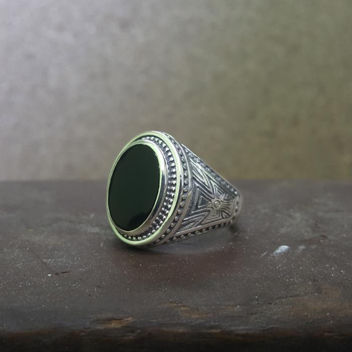 Δαχτυλίδι Ασήμι 925° με Μαύρο Όνυχα