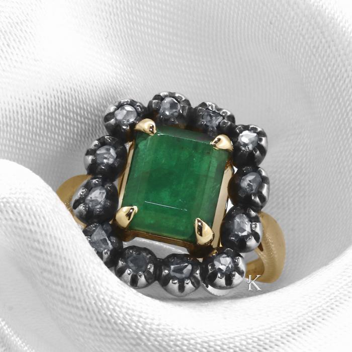 Δαχτυλίδι Χρυσός Κ14 & Ασήμι 925 με Σμαράγδι και Διαμάντια