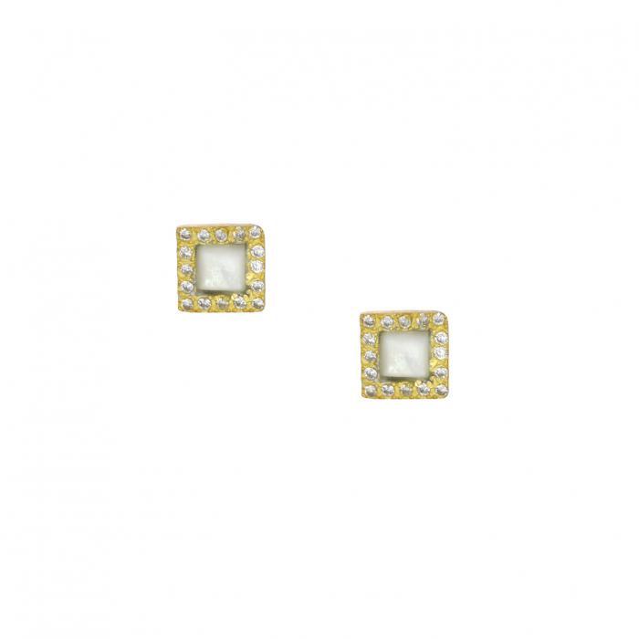 SKU-35138 / Σκουλαρίκια Ασήμι 925° με Φίλντισι & Ζιργκόν