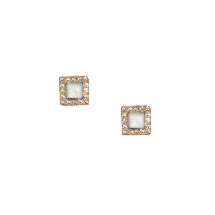 SKU-35136 / Σκουλαρίκια Ασήμι 925° με Φίλντισι & Ζιργκόν