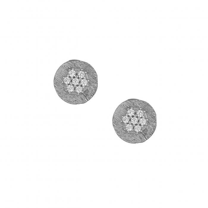 SKU-35795 / Σκουλαρίκια Λευκόχρυσος Κ14 με Ζιργκόν