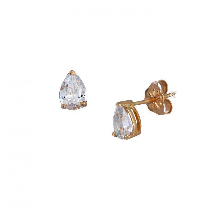SKU-35442 / Σκουλαρίκια Ροζ Χρυσός Κ14 με Ζιργκόν