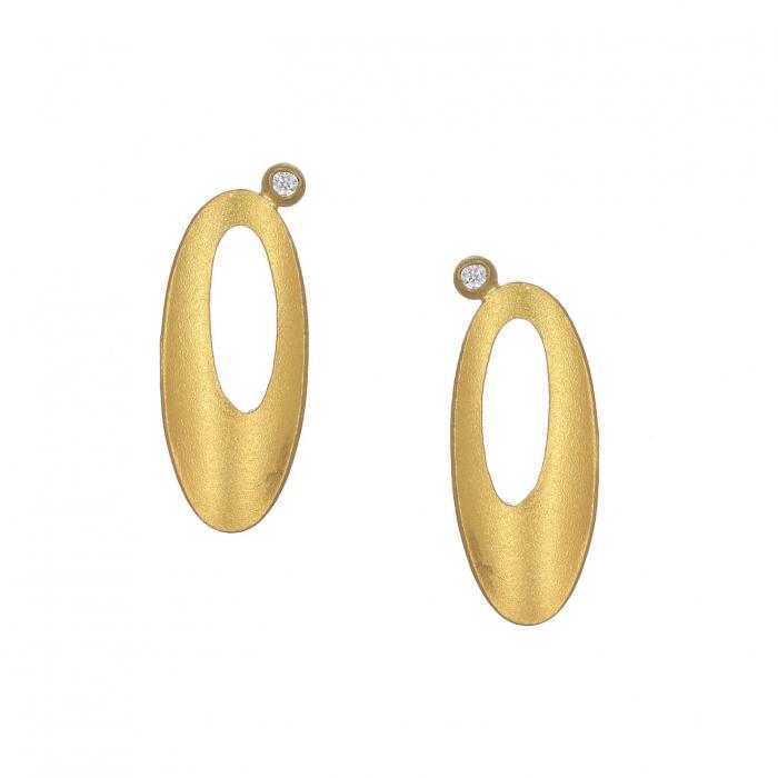 SKU-35839 / Σκουλαρίκια Χρυσός Κ14 με Ζιργκόν