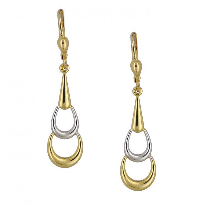 SKU-35519 / Σκουλαρίκια Χρυσός & Λευκόχρυσος Κ14