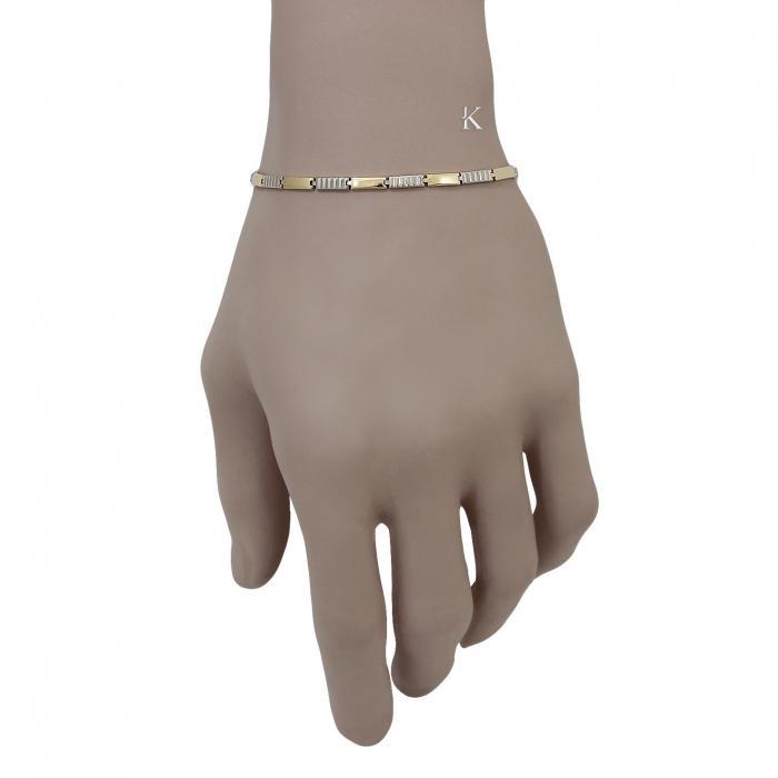 SKU-36409 / Βραχιόλι Χρυσός & Λευκόχρυσος Κ9