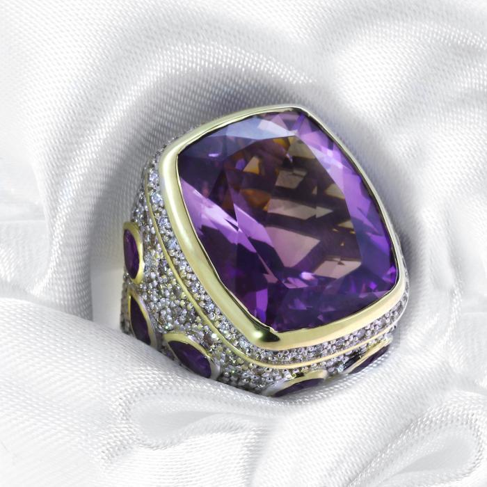 Δαχτυλίδι Λευκόχρυσος & Χρυσός Κ18 με Αμέθυστο & Διαμάντια