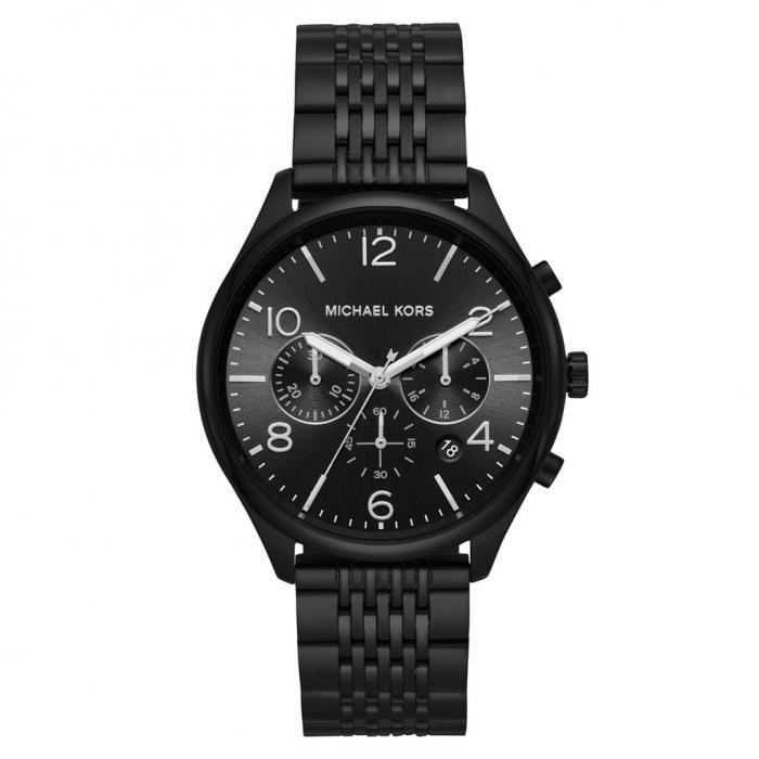 SKU-36823 / MICHAEL KORS Merrick Chronograph Black Stainless Steel Bracelet
