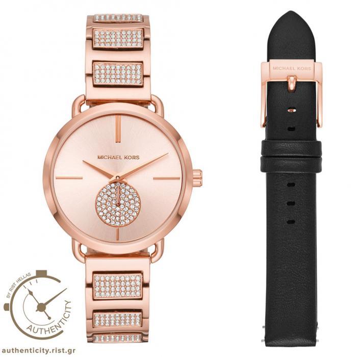 SKU-36878 / MICHAEL KORS Portia Crystals Rose Gold Stainless Steel Bracelet Gift Set